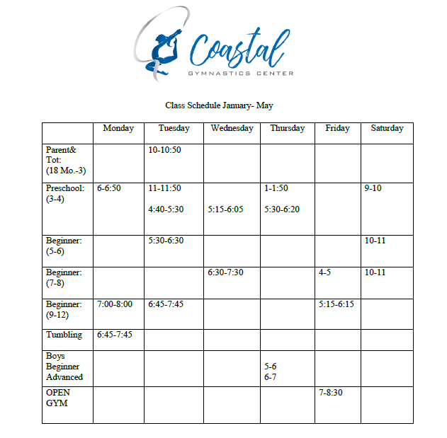 2019 Spring Rec Schedule